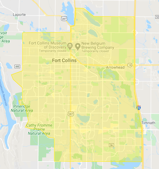 The delivery zone boundaries are: Trilby to the south, I-25 to the east, Overland/Red Fox to the west (exceptions made for Ponds, Westgate, & Burns Ranch developments)